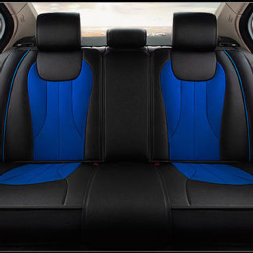 Leather Car Seat Cover B Blue Black