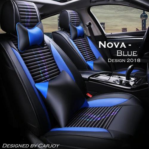 2018 Design Universal 5 Seats Leather Look Car Seat Covers Nova Series Blue