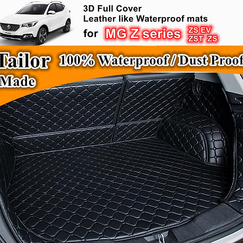 Black PU Leather Trunk Boot Liner Cargo Mats for MG Z series ZS ZS EV ZST