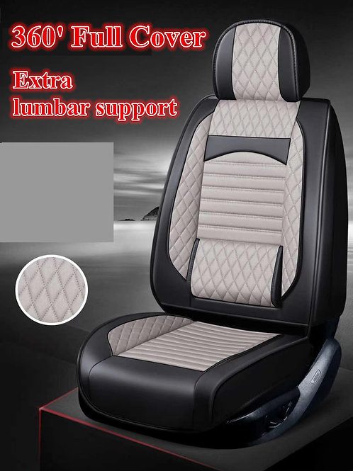 360' Padding Lumbar Support Car seat cover Silver Grey