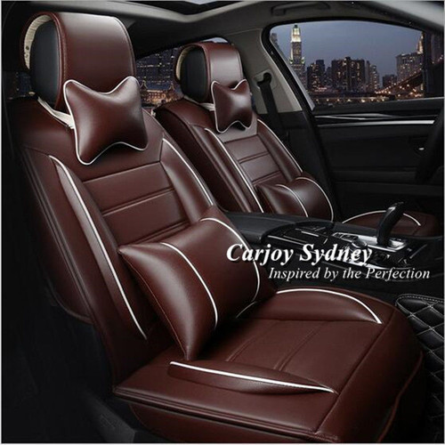 Padded Leather Car Seat Cover Brown With White Trim