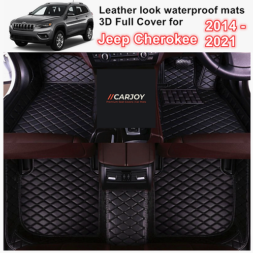 3D Moulded PU leather Waterproof Car Floor Mats for Jeep Cherokee 2014 - 2021