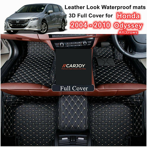 3D Waterproof Full cover Car Floor Mats for Honda Odyssey 2004 - 2010 All 3 rows