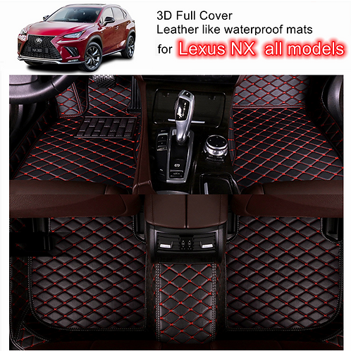 3D Customized Car floor mats Leather Full coverage for Lexus NX all mode Red