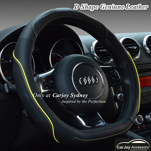 D Shape Sports Steering Wheel Cover Yellow trim