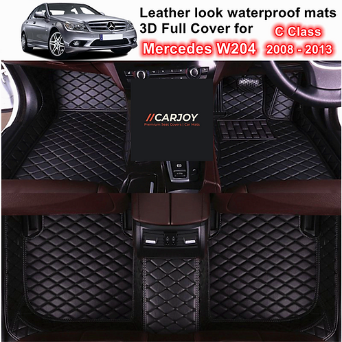 3D Moulded Waterproof Car Floor Mats for Mercedes C Class W204 2008 - 2013 Black