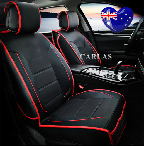 Universal 5 Seater Leather Car Seat Cover Black Red Trim
