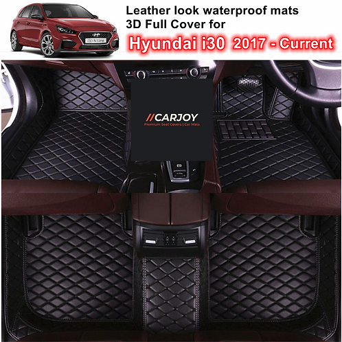 3D Moulded PU leather Waterproof Car Floor Mats for Hyundai i30 2017 - 2021