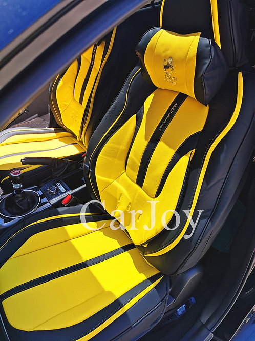2020 Limited Design Handmade Premium Car seat cover Gold Print Yellow