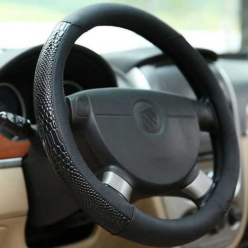 Snake Print Leather Black Steering Wheel Cover