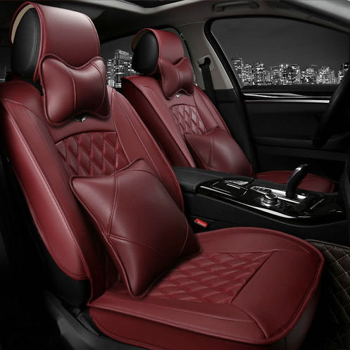 diamond stitching leather car seat cover burgundy wine red
