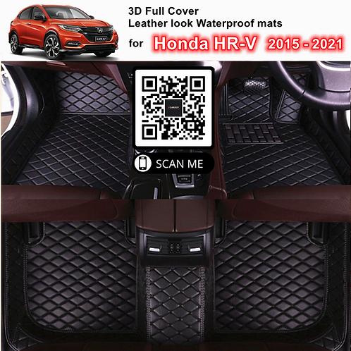 3D Custom Waterproof Leather look Car Floor Mats fits Honda HR-V 2015 - 2021