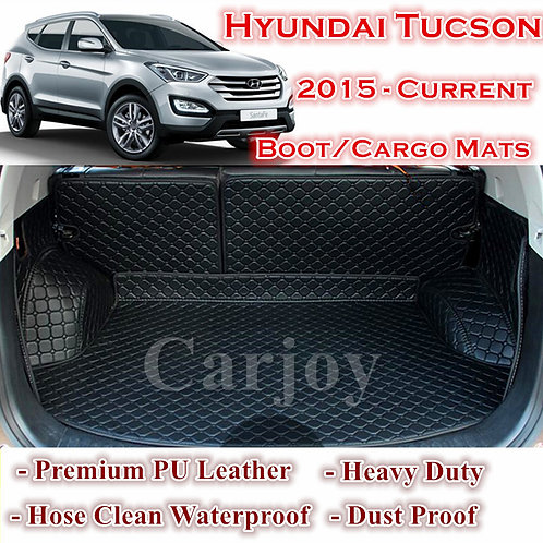 Tailored PU Leather Boot Liner Cargo Mat Cover for Hyundai Tucson 2015 - 2017