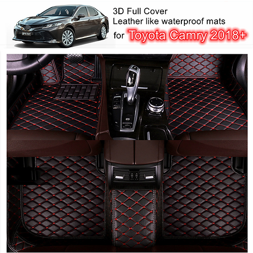 3D Customized Car floor mats Leather Full coverage for Toyota Camry 2018-2021