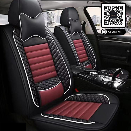 360' PU Leather Universal car seat covers Lumbar Support Maroon stitching