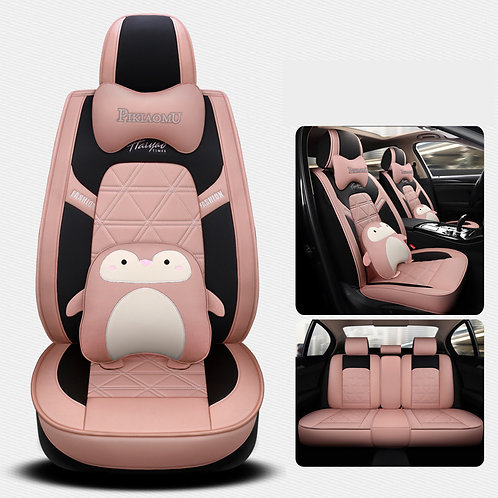 360'Degree Full Cover Cute Penguin Car seat covers PU Leather Pink