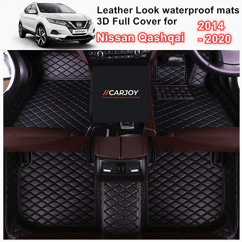 3D Moulded PU leather Waterproof Car Floor Mats for Nissan Qashqai 2015 - 2020