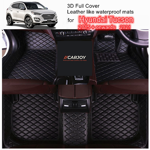 3D Customized Car floor mats Leather Full coverage for Hyundai Tucson 2015-2021