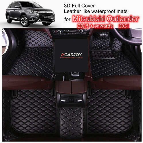 3D Customized Car floor mats Leather Full coverage for Mitsubishi Outlander Blk