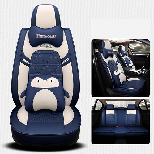 360'Degree Full Cover Cute Penguin Car seat covers PU Leather Blue