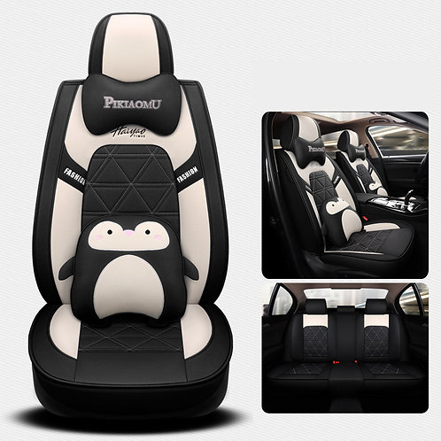360'Degree Full Cover Cute Penguin Car seat covers PU Leather Black white