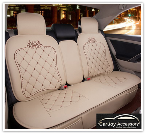 Luxury Beige Stripe Leather Car Seat Cover 5 Seats Sydney Car Accessories Interior Exterior