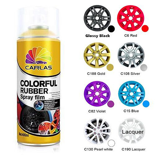 Carlas Glossy Black Removable Rubber Plasti Dip Wheel Rim Paint Spray