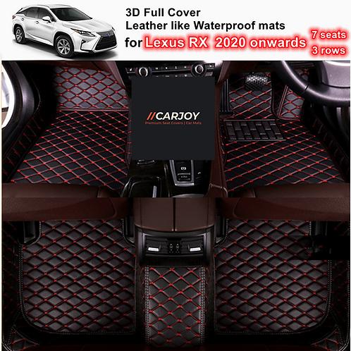 3D Waterproof Full cover Car Floor Mats for Lexus RX 7 seats 3 rows 2020 onwards
