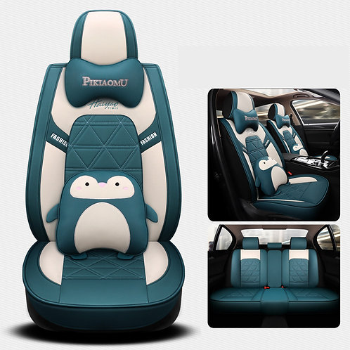 360'Degree Full Cover Cute Penguin Car seat covers PU Leather Green