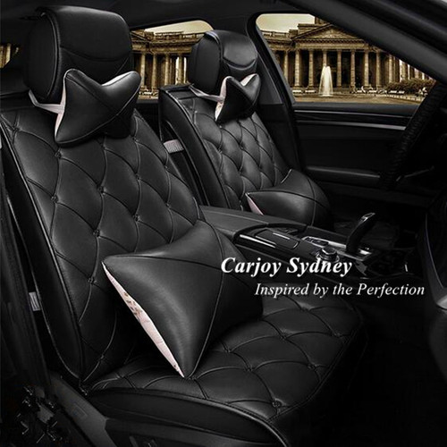 Soft Leather Diamond Stitching Full Black Car Seat Cover