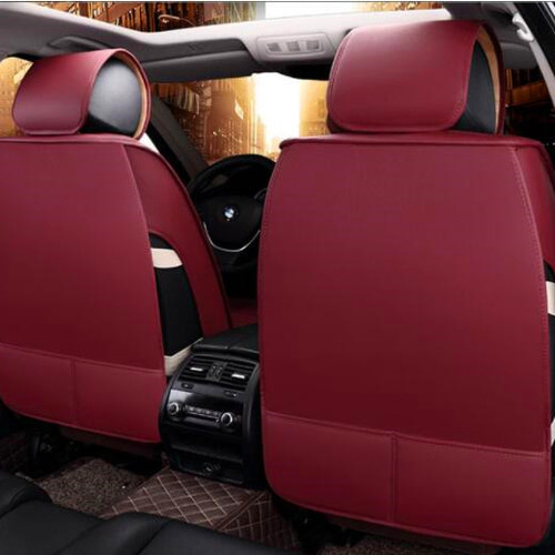 Universal 5 Seater Leather Car Seat Cover C Burgundy