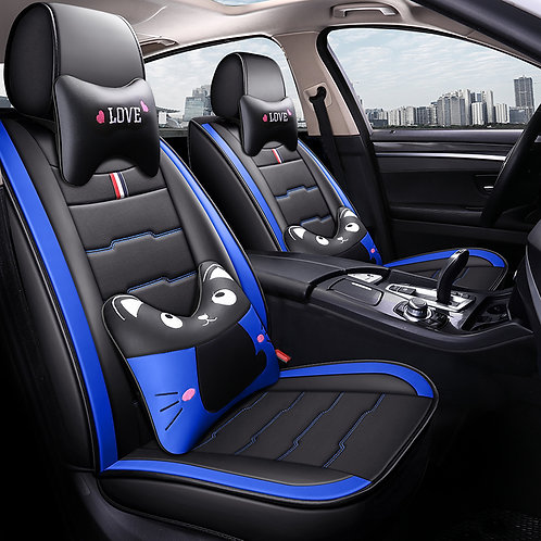 Cartoon Kitty Design Universal 5 Seats Leather Look Car Seat Covers - Blue