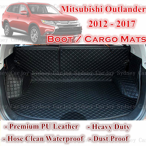 Tailored PU Leather Boot Liner Cargo Mat Cover for Mitsubishi Outlander 5 12 -17