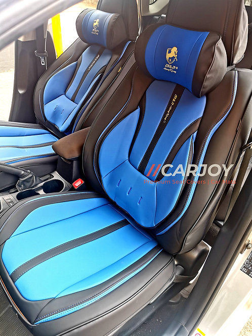 2020 Limited Design Handmade Premium Car seat cover Gold Print Blue