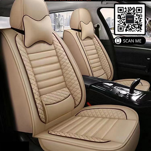 360' PU Leather Universal car seat covers Lumbar Support Beige stitching