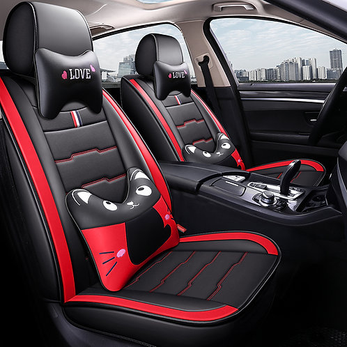 Cartoon Kitty Design Universal 5 Seats Leather Look Car Seat Covers - Red