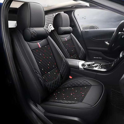 360' Padding Lumbar Support Car seat cover Black Red stitiching