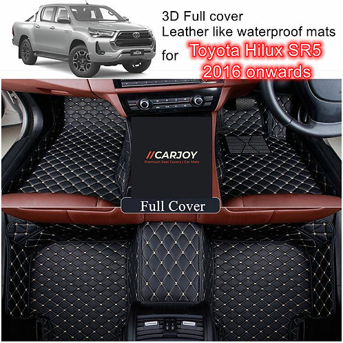 3D Customized Car floor mats Leather Full coverage for Toyota Hilux SR5 16-2021