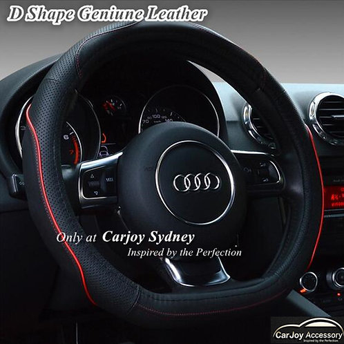 D Shape Sports Steering Wheel Cover Red trim