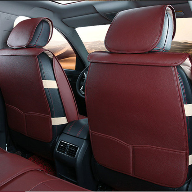 Flag Badge Leather Universal Car Seat Cover Burgundy