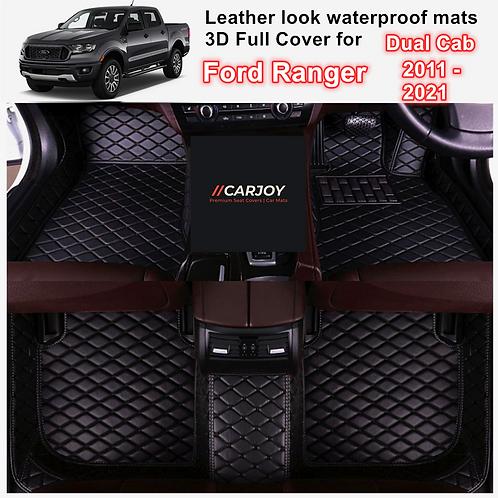 3D Moulded Waterproof Car Floor Mats for Ford Ranger Dual Cab 2011 - 2021 models