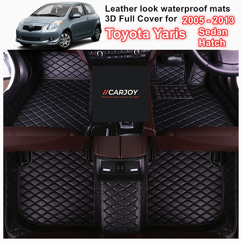 3D Moulded PU leather Waterproof Car Floor Mats for Toyota Yaris 2005 - 2013