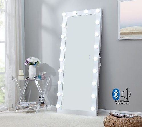 Large White Hollywood Mirror with Bluetooth