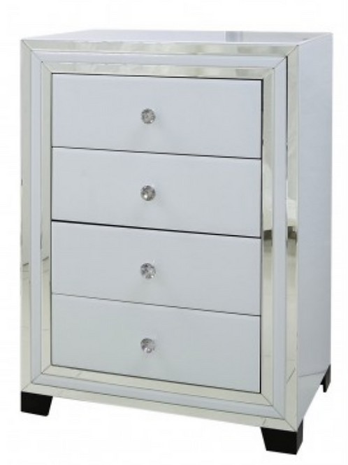 White Manhattan Mirror 4 Drawer Chest