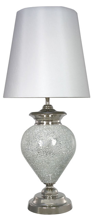 Silver Mosaic Regency Statement Lamp with White Shade