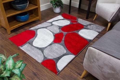 Tempo Pebbles Grey/Red Rug