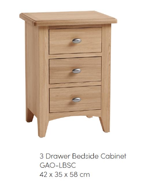 GAO 3 Drawer Bedside