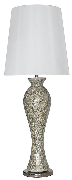 Silver Mosaic Tall Lamp with White Shade