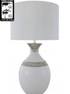 Manhattan White Oval Table Lamp - 14 inch White Shade