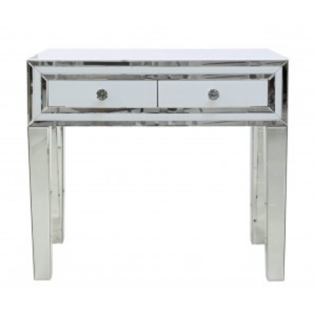 White Manhattan Mirror 2 Drawer Console Table